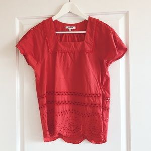 Madewell Red Cut Out Top